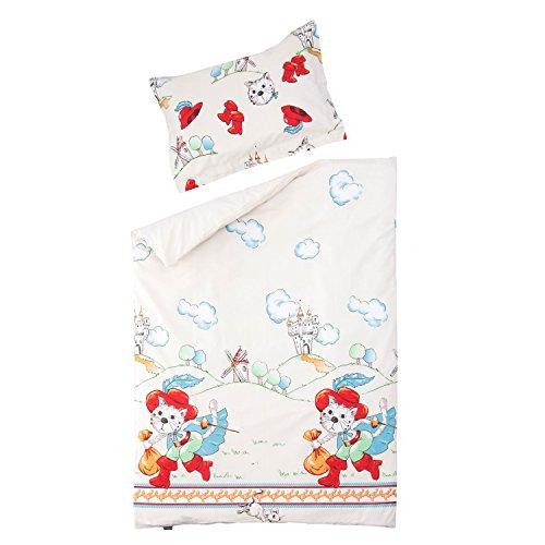 SoulBedroom Baby Tommy Le Chat botté Linge de lit pour bébé (Housse de Couette 100x140 cm et Taie d'oreiller - 100% Coton)