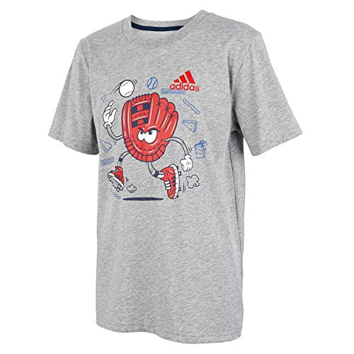 adidas Boys' Little Kids Short Sleeve Cotton Jersey Graphic T-Shirt, Mighty Mit Grey Heather, 5