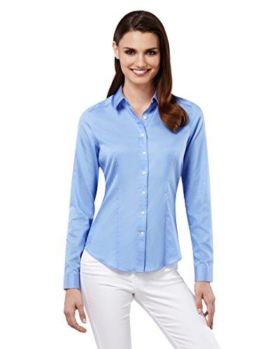 Embraer Damen Bluse tailliert 100% Baumwolle Gemustert Langarm Hemdbluse elegant festlich Kent-Kragen auch für Business und unter Pullover eisblau 40