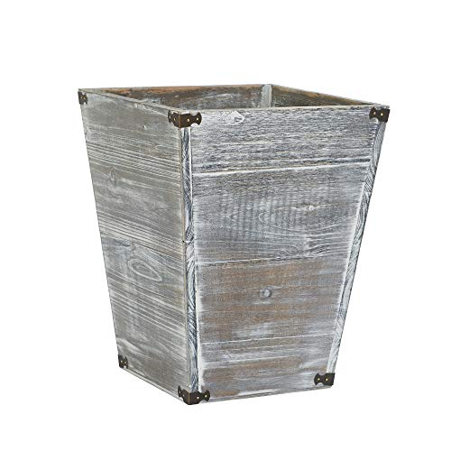 VERGOODR Gray Farmhouse Style Torched Wood Square Waste Bin with Decorative Metal Brackets Trash Can for Bedroom,Living Room, Bathroom & Office