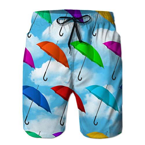jiilwkie Herren Boardshorts Badeanzüge Strandshorts Nahtlose Bunte Regenschirme Hintergrund L