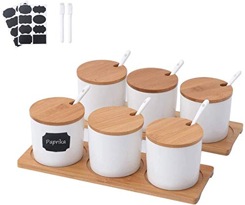 Paquete de 6 macetas de porcelana de 8 onzas para condimentos con una cuchara y tapa de bambú, recipiente de cerámica para azucarero y cocinas domésticas,
