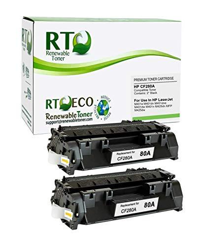 Renewable Toner Compatible MICR Toner Cartridge Replacement for HP 80A CF280A for HP LaserJet Pro 400 M401 M425 (Black, 2-Pack)