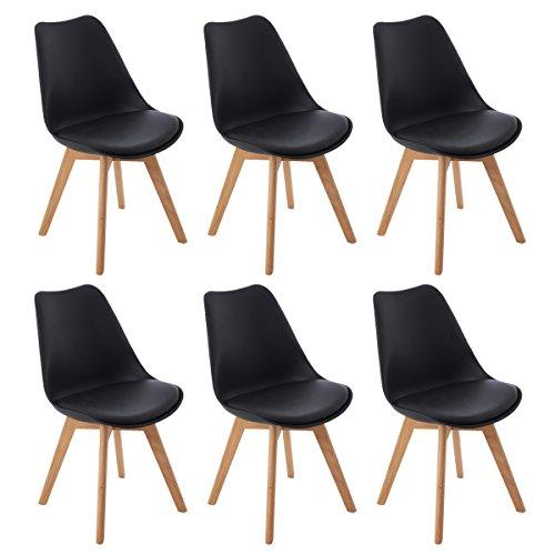 DORAFAIR Lot de 6 chaises de Cuisine en Bois, rétro rembourrée Chaise de Salle de Bureau avec Pieds en Bois de Chêne Massif et Assise en PU,Noir