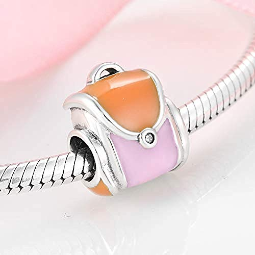 Women's Bead Charms Authentic Colorful Ladies Backpack Making 925 Sterling Silver Fine Pendants Bracelet Jewelry Making Girls Teens DIY Best Gift Fit Original Charm