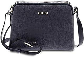 GIUDI ® - Borsa Donna in vitello martellato, tracolla, Made in Italy, vera pelle. (Blu)