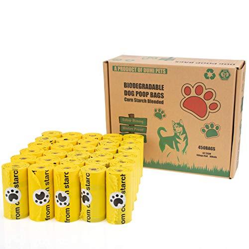 Dumi Pets Bolsas biodegradables para caca extra gruesas y fuertes, a prueba de fugas, 30 rollos para 450 bolsas de basura ecológicas para perros hechas de almidón de maíz (amarillo)