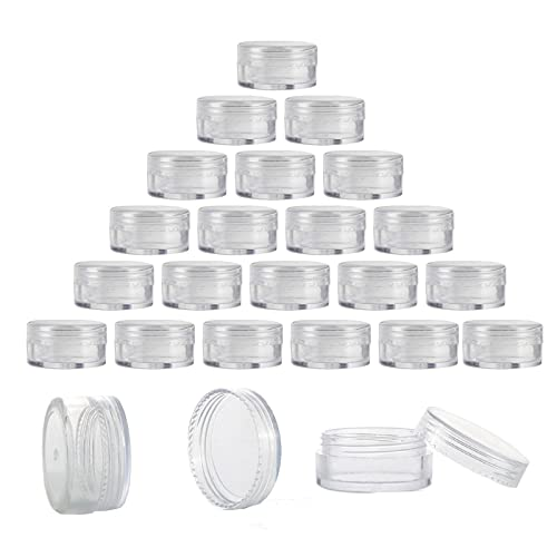 100pcscosmetic Container, Round Box with Lid Empty Sample Pots, Plastic Cosmetic Jars, Suitable for Travel Cosmetic Dispensing, Refillable, Mini Cosmetic Container Jars, Transparent, 5g/5 Ml