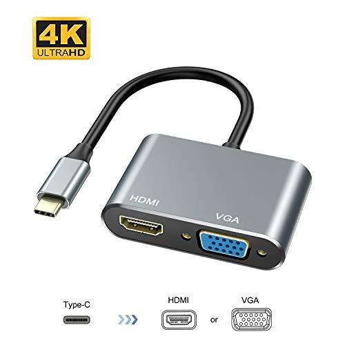 ABLEWE Adaptador USB C a HDMI VGA,USB C Hub Thunderbolt 3 a HDMI 4K VGA 1080P para MacBook Pro 2019/2018/2017/MacBook Air 2018/Dell XPS 13/Samsung S8/S9/Y Otros
