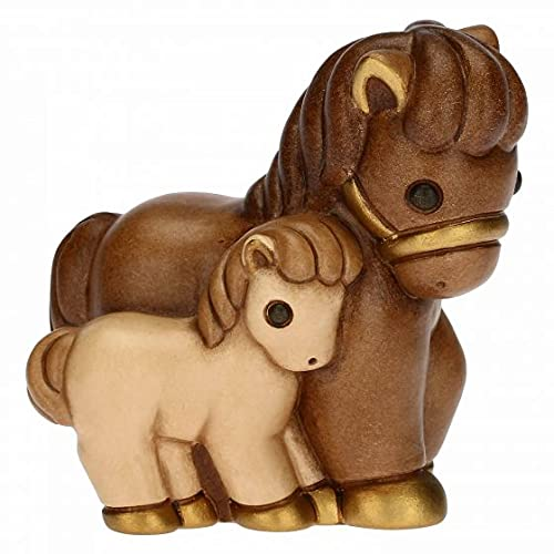 THUN - Cavallo Con Puledro Presepe Classico - Living, Natale, Addobbi - Idea Regalo - Ceramica - 7,2x4,6x7,2 cm h