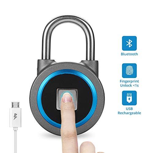 Ritioner-Candado de Bicicleta,Desbloqueo por Huella Digital,Desbloquee R/ápidamente en un Segundo,Carga USB,IP6 Impermeable,Sistema para iOS//Android 4.3 y Superior
