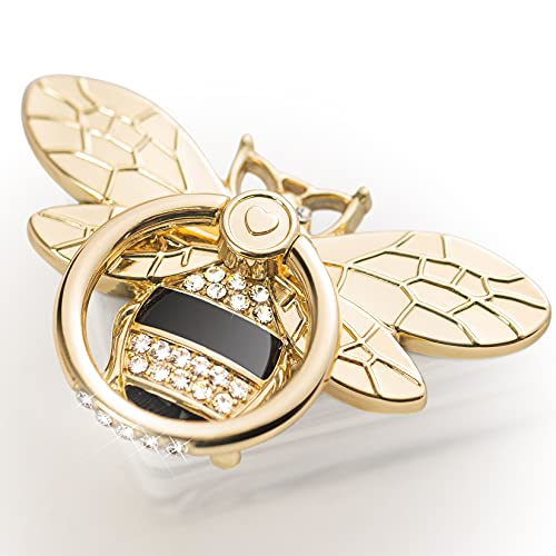 Bee Cell Phone Ring Holder with Crystal Stone, Allengel Sparkly Finger Kickstand Back Stand Hand Grip with Knob Loop Compatible with Smartphone, Mobile Cute Decor Beauty Phone-Gold Black