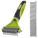 Limewie - Peine para eliminar la descomposición de mascotas, doble cara, rastrillo, peine de aseo para perros y gatos, elimina la capa inferior suelta, nudos, esteras y pelo enredado.