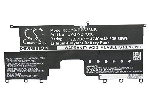 Preisvergleich Produktbild CS-BPS38NB Laptop Akkus 4740mAh Kompatibel mit [Sony] SVP13213CW,  SVP13218PW,  SVP13229PW,  SVP1322YCW,  SVP132A1CM,  VAIO Pro 13 Ersetzt VGP-BPS38