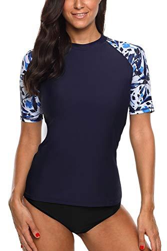 Vegatos Damen UV Shirt Kurzarm Spitze Uv Schutz UPF 50+ Rash Guard Mode Badeshirt Schwimmshirt Navy 2XL