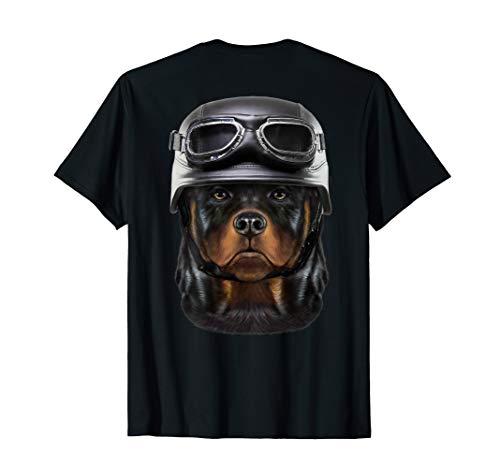 Rottweiler Hund mit Motorradhelm T-Shirt