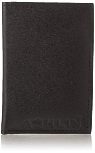 Ashlin Genuine Leather Double ID Holder. Drivers License|MetroPass|Double Photos Holder| Black [7503-07-01]