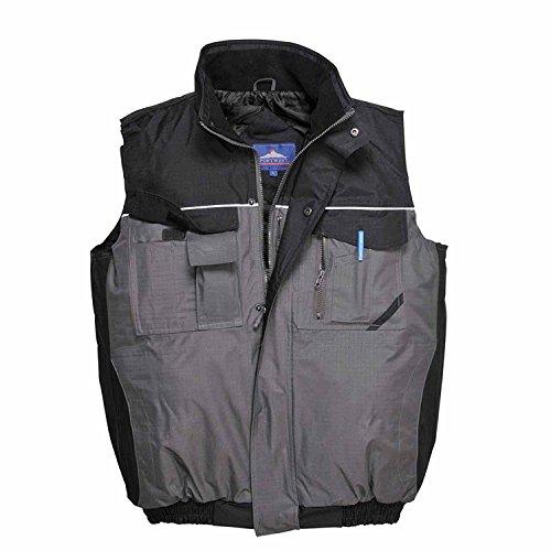 2Tone Bodywarmer Gilet Waistcoat Waterdicht Multi Zakken Werkkleding Buiten S560, Size XX-Large, Zwart/Grijs, 1