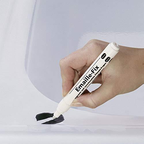 WENKO Emaille-Fix Stift Keramik Emaille Reparatur Remaille Paste Sanitärweiß, Temperaturbeständig 6 ml Weiß