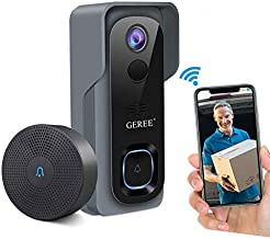 $89 » Video Doorbell Wireless WiFi Smart Doorbell Camera,GEREE 1080P HD Security Home Camera,32G Micro SD Card,Real-Time Video and Two-Way Talk, Night Vision, PIR Motion Detection 166° Wide Angle Lens