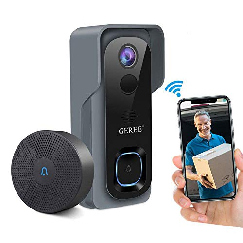Video Doorbell Wireless WiFi Smart Doorbell Camera,GEREE 1080P HD Security Home Camera,32G Micro SD Card,Real-Time Video and Two-Way Talk, Night Vision, PIR Motion Detection 166° Wide Angle Lens