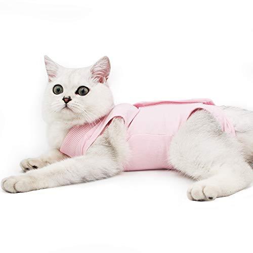Dotoner Gatos Traje de recuperación Profesional para heridas Abdominales o Enfermedades de la Piel Alternativo para Gatos y Perros después de la cirugía Ropa para el hogar(Rosa,l)