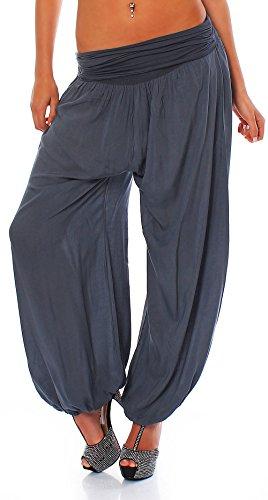 Malito Bombacho Aladin Harem Pantalón Boyfriend Baggy Yoga 1482 Mujer Talla Única (Gris)