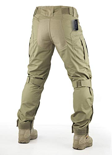 Survival Tactical Gear Pants with Knee Pads Hunting Paintball Airsoft BDU Military Camo Combat Trousers for Men (Coyote Brown, L)