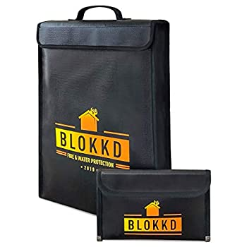 Fireproof Document Bag and Fireproof Money Bag Fire Safe Water Resistant Storage Protection - BLOKKD