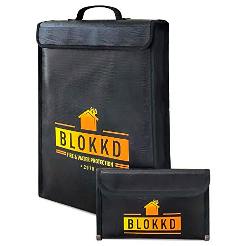 BLOKKD Fireproof Document Bags - Fireproof Safe Bag Fireproof Lock Box Bag Water Resistant Fire Proof Container Bag Home Safes Fireproof Safety Storage for Documents and Valuables - 16 x 11.5 x 3 inch