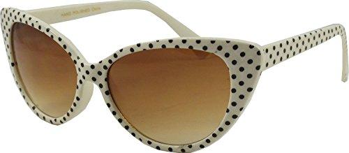 Gafas de sol de ojo de gato de Retrouv®, diseño de lunares, para mujer, modelo Super Cat Weiß Schwarz-Punkt mit retroUV® Beutel 56