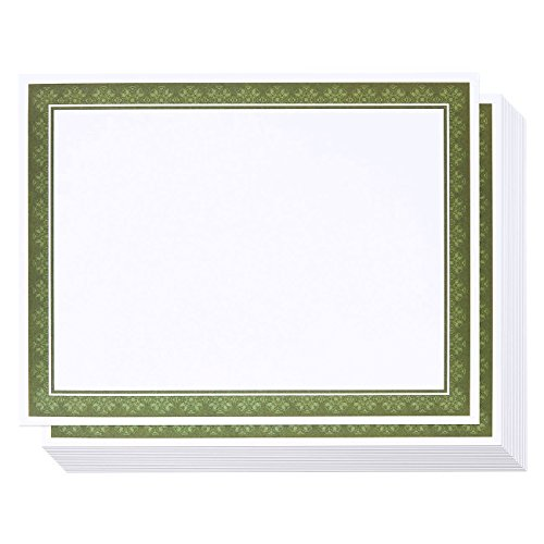Certificate Paper with Green Border (White, 8.5 x 11 in, 50-Pack)