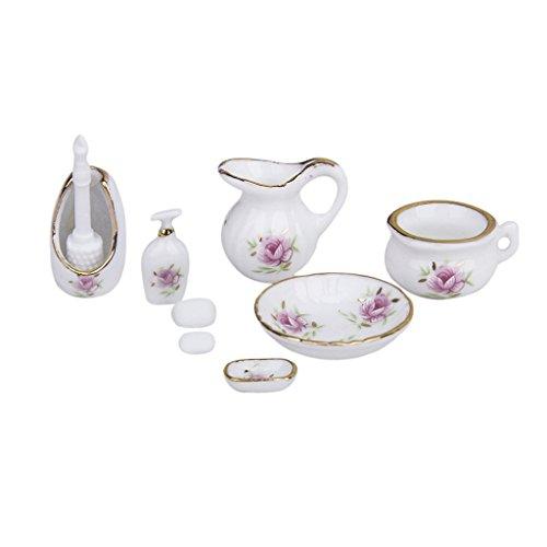 Generic 8pcs Accessoires de Salle de Bain en Céramique Miniature pour Maison de Poupées