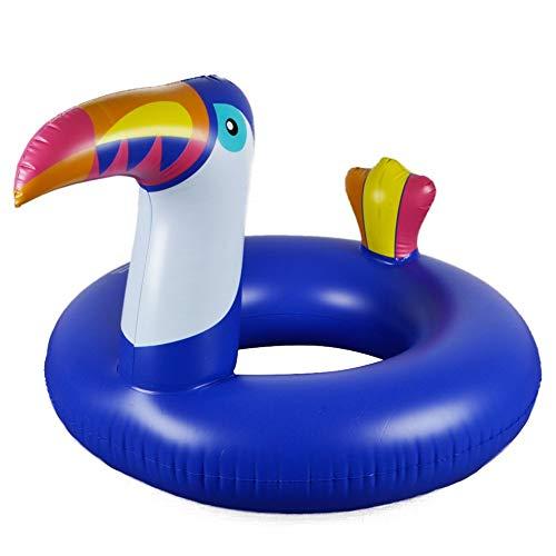 Ducomi Inflables para playa y piscina para adultos y niños, colchoneta de playa, gran donut hinchable, rueda neumática, unicornio, sandía, colchón hinchable (Toucan)
