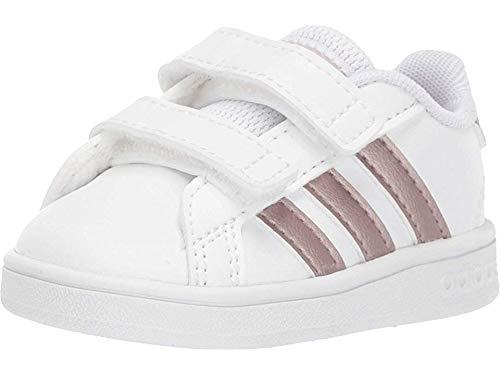 adidas Baby Grand Court Sneaker, White/Copper Metallic/Glow Pink, 7K M US Toddler