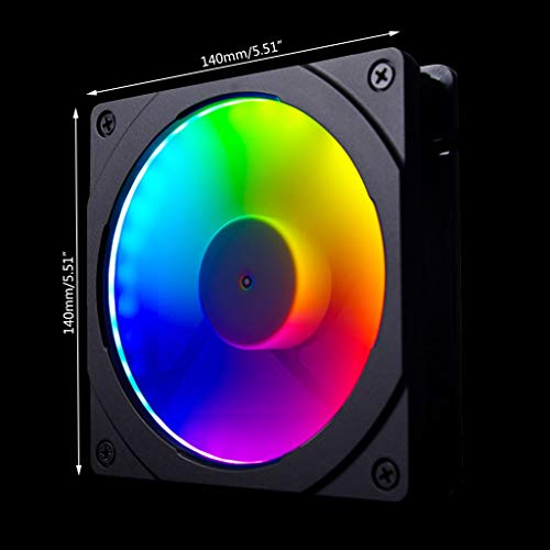 YOKING - Ventilador de color arco iris con LED de colores RGB 120 mm/140 mm, apertura de halos, para ventilador 12/14 cm, control de placa madre sincrónica