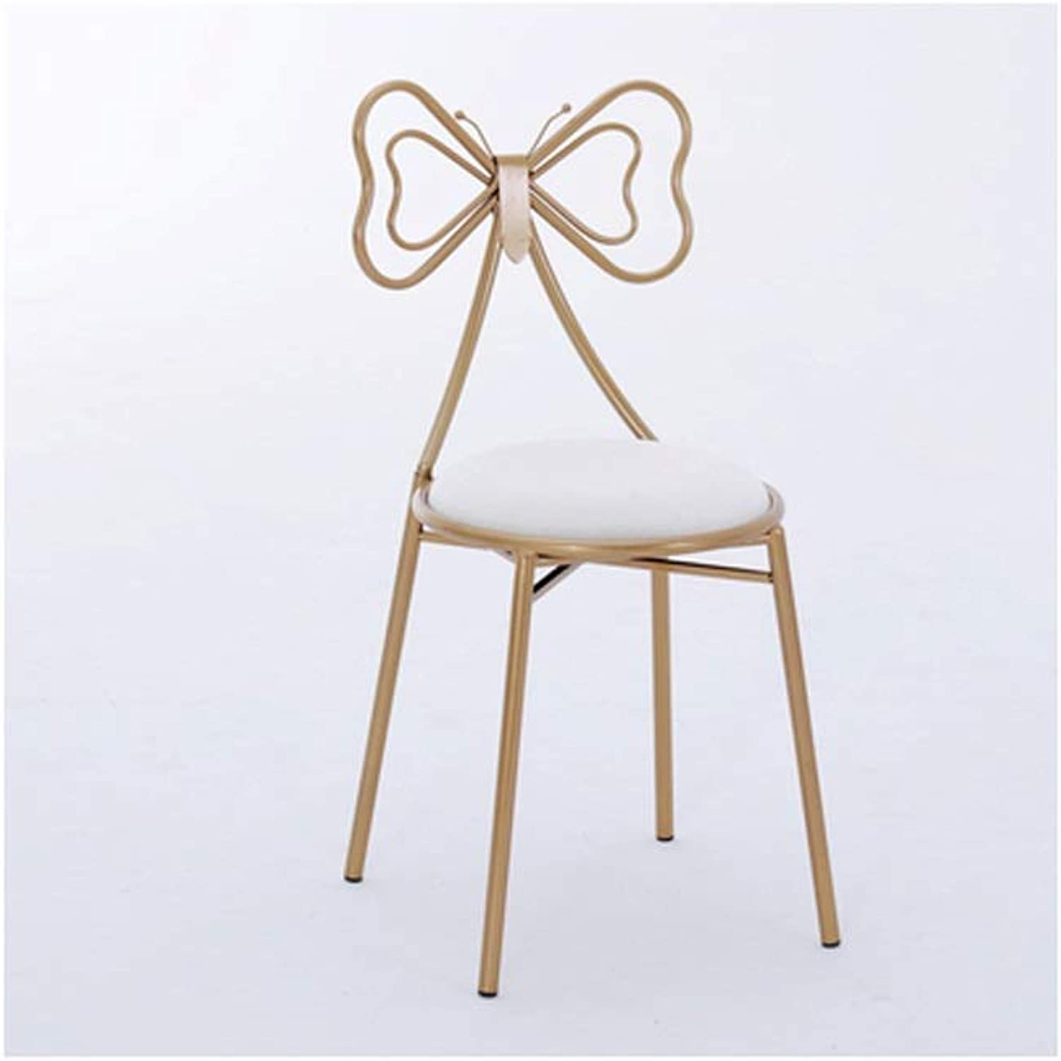 YJWOZ golden Makeup Chair High Rebound Sponge Cushion Bow Metal Back Sitting Height 45CM Four color Optional Chair (color   A, Material   Suede Cushion)