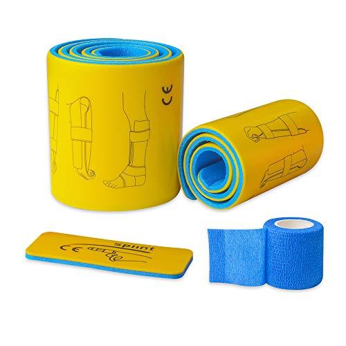 KONMED 3-teiliges Notfall-Schienen-Set, Erste-Hilfe-Frakturen, feste Schiene, Stützschiene, Rolle mit selbstklebender Bandage für Arme, Beine, Finger
