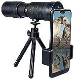 Fisecnoo 4K 10 300x40mm Zoom Telescopio monocular, Telescopio Impermeable con Adaptador de teléfono Inteligente Trípode y visión Nocturna para observación de Aves/de Caza/Acampar