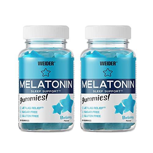 Weider Gummy Pack Duo Melatonin. Botes De Melatonina 1mg En Gominola. X60 Gummies. Sabor Blueberry, Blanco, Arandano, 2 Unidad