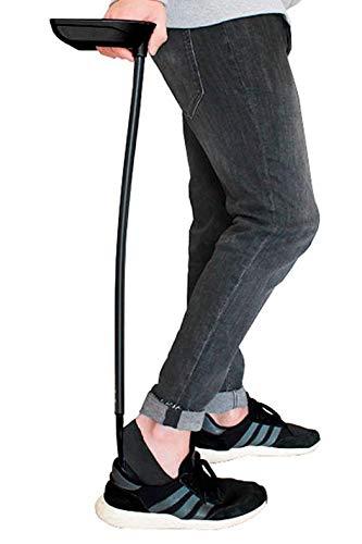 KMINA - Calzador y Descalzador de zapatos largo 76 cm (2 en 1), Calzador de zapatos largo, Calzador largo, Descalzador zapatos largo, Calzadores para Personas Mayores, Color Negro