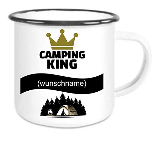 Crealuxe Emailletasse m. Wunschname (Wunschname) Camping King - Kaffeetasse mit Motiv, Bedruckte Tasse mit Sprüchen oder Bildern