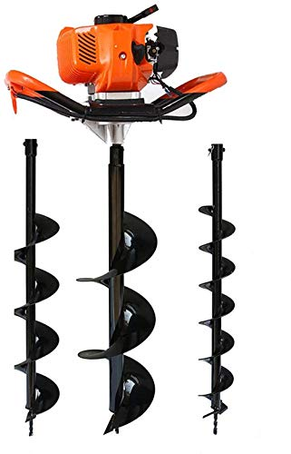 One Man Earth Auger, 52cc 2-Cycle 2.3 HP Petrol Powered Earth Auger Post Hole Borer Ground Drill Digger + 3 Bits