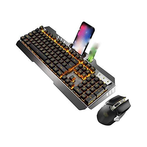 SFLRW Combo de teclado y ratón del juego, LED Rainbow Retrowlit USB teclado de computadora con cable 104 llave, diseño resistente a los derrames, juego de ratón de repuesto de muñeca ergonómica Conjun