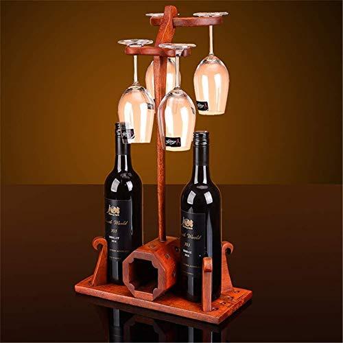 Estantería de vino Estante de vino Estante de vino Estante de Vino Sólido Estante de Copa de Vino Decoración de palisandro Cubilete Upside Down Sala de estar Creativa Rack de vidrio de vino (color: ro