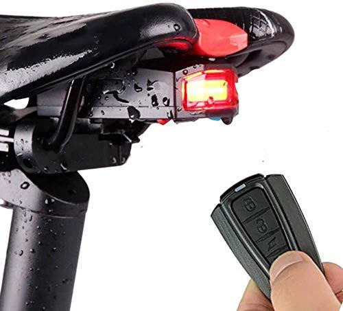 Luz Trasera de Bicicleta Luces Inalámbrico y Inteligente de Alarma Antirrobo LED Impermeables IPX65 Recargada por USB