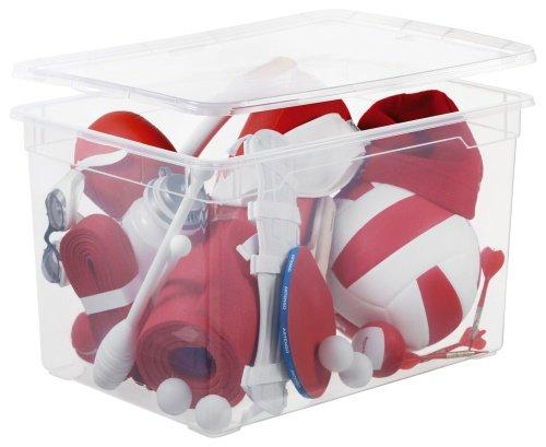 Sundis Clear Box Maxi Aufbewahrungsbox 46 l mit Deckel, Kunststoff (PP), transparent, 46 Liter (55 x 37,5 x 32 cm)