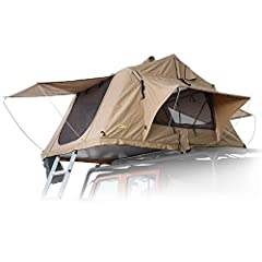 """Standard size tent (sleeps 2-3) with high-density 92"""" x 55"""" foam double/full mattress and 661 lb. max load 600D heavy-duty waterproof top and rain fly; sunroof; side windows with mosquito netting; anodized aluminum tent frame poles; telescopic ladder..."""