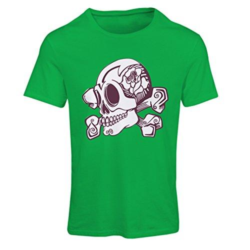 lepni.me N4603F Camiseta Mujer Skull and Bones (Small Verde Multicolor)