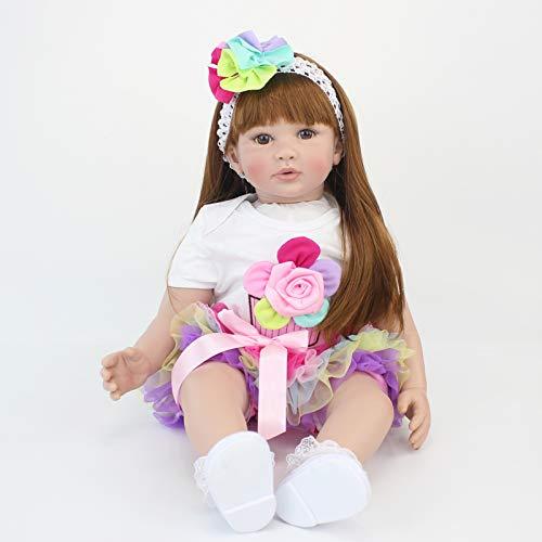 iCradle Muñeca Reborn Baby Doll Muñeca de Silicona de la Vida Real 24 Pulgadas Cuerpo de Tela Bebe Largo Peluca marrón Cabello con Diadema Falda Colorida Regalos de Juguete